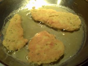 GF 'Breaded' Chicken Cutlets Frying