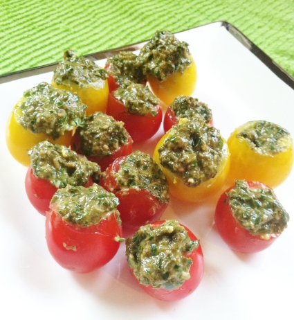 pesto & cherry tomatoes