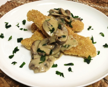 Chicken Cutlet with Mushrooms in Lemon Sauce