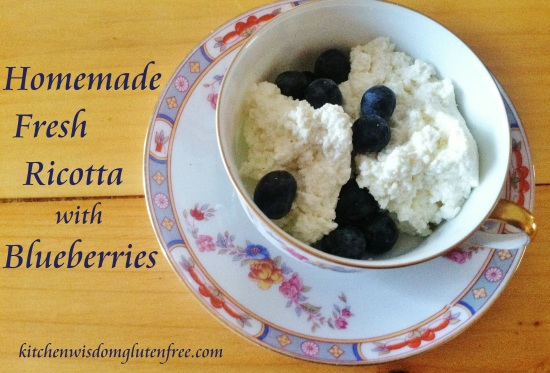 homemade fresh ricotta - w writing